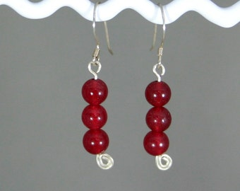 Red jade earrings - Cranberry Drops