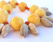 Large Yellow Bead & Olive Shell Necklace with Carnelian