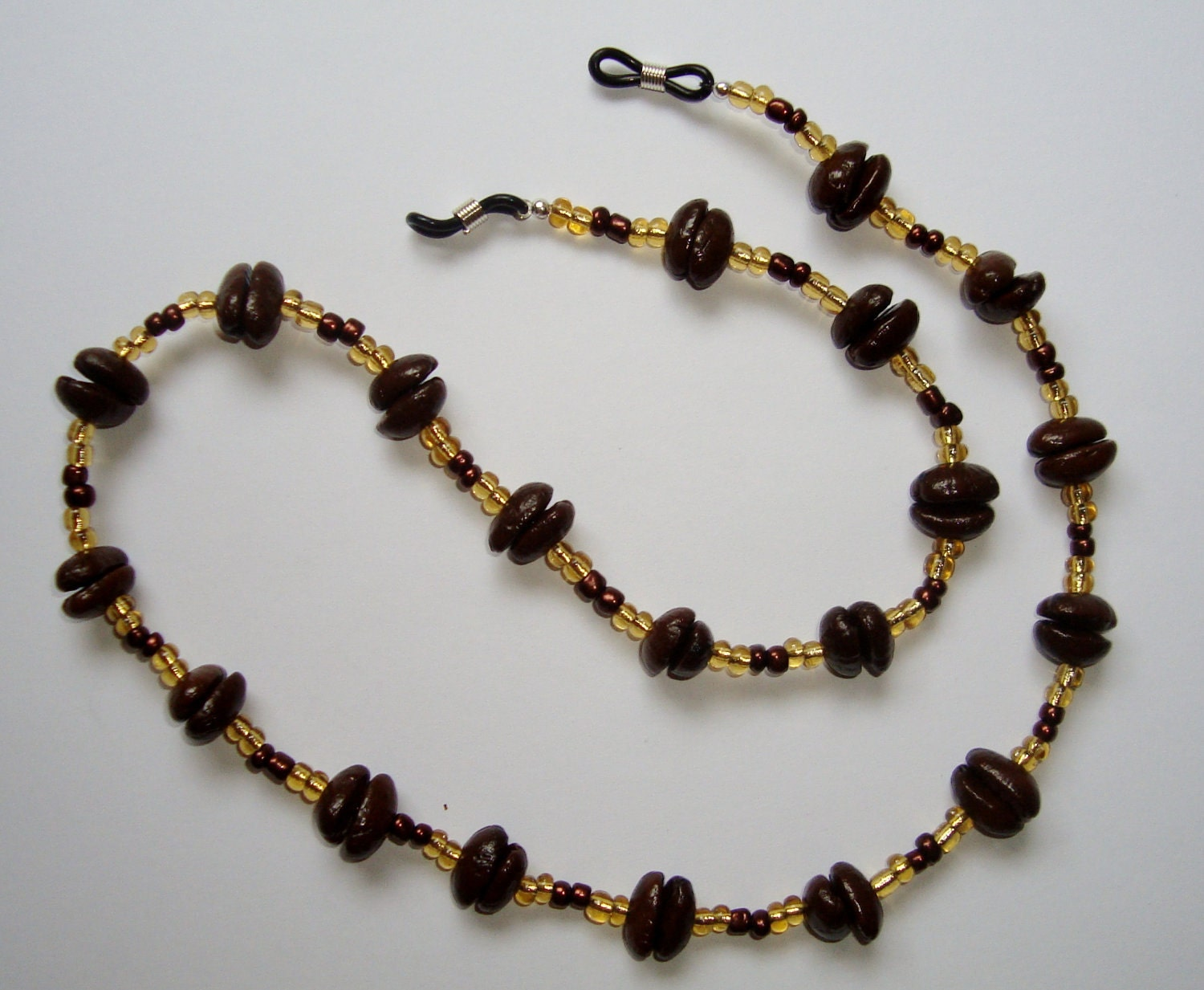 Eyeglass Holder Necklace handmade of Real Coffee Beans