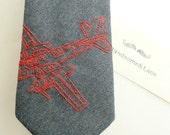 Aviation Embroidered Necktie-handmade from mens suit-Toronto's Neck Tie Reformatory