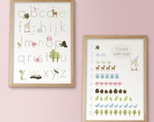 ABCs - 123s - Woodland Alphabet and Counting Prints - PINK - 11x14 - Archival Giclee Prints