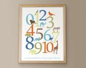 Animal Numbers - Safari - 11x14 Archival Giclee Print