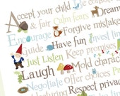 Woodland ABCs of Parenthood - 11x14 - Archival Giclee Print