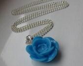 Blue Rose Necklace Flower Pendant Floral