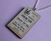 Vintage Style Oakdale Bowling Club Ticket Wooden Necklace