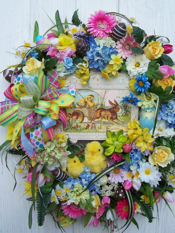 A JOYFUL EASTER Wreath With Adorable Chicks