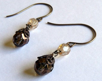 Antique brass earrings with champagne and copper glass beads