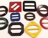 VINTAgE Bakelite Plastic Buckles SLIDES Ten (10) Red Yellow Blue Green FASHION Jewelry Destash (Y83)