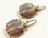 GLITTER Ladybug Hair Clips Silver Glitter FUN Ready to Wear Two (2) Jewelry Destash (J1)