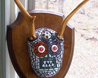MONSTER Mosaic Mardi the Chupacabra Stained Glass MOSAIC Vintage Deer Antlers Jewelry Wall Hanging OOAK