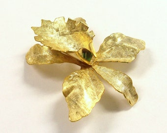 VINTAGE Gold Pin Brooch Blank One (1) ORCHID Pin Cabochon Flower Gold Orchid Vintage Jewelry Blank Supplies (R70)