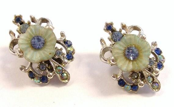 Vintage BLUE Flower Earrings Blue Rhinestones Celluloid Flower Earrings Fashion Ready to Wear JEwELRY Destash (M92)