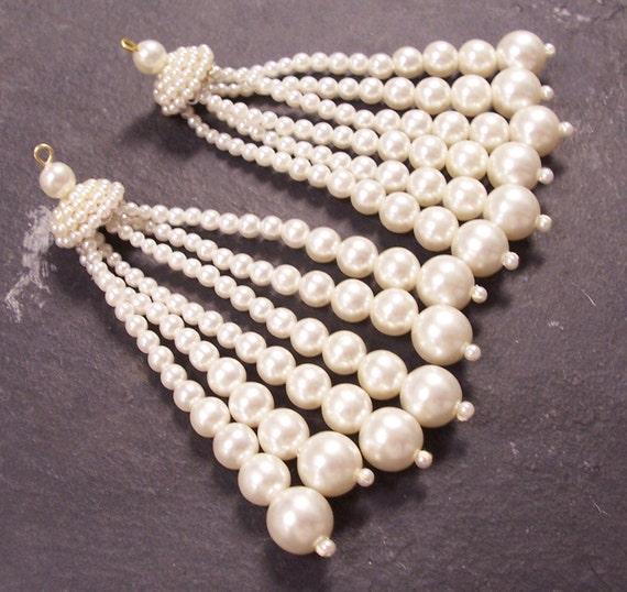 VINTAGE Pearl Dangle Findings Silver Filigree Caps PEARL Chandelier Earrings Japan Dramatic Jewelry Destash (A50)