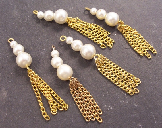 VINTAGE Pearl Dangle Findings Gold Chains PEARL Chandelier Earrings Japan Dramatic Jewelry Destash (A55)