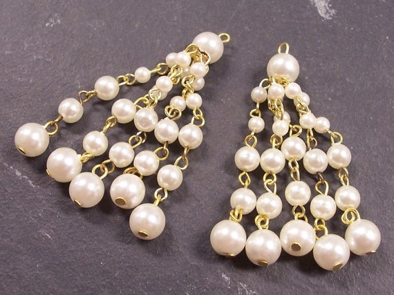 VINTAGE Pearl Dangle Findings GoLD Five Strands PEARL Chandelier Earrings Dramatic Jewelry Destash (Y17)