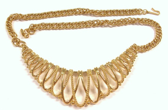 VINTAGE Gold Necklace STUNNING Choker Filigree Unique Ready to Wear Jewelry Destash (Y81)