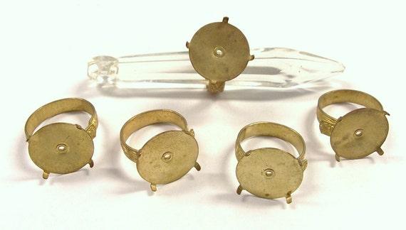 VINTAGE Gold RING Blanks 16mm Pad Prong Set Cabochon Adjustable Band Five (5) Ring Blanks Jewelry Destash (Y178)