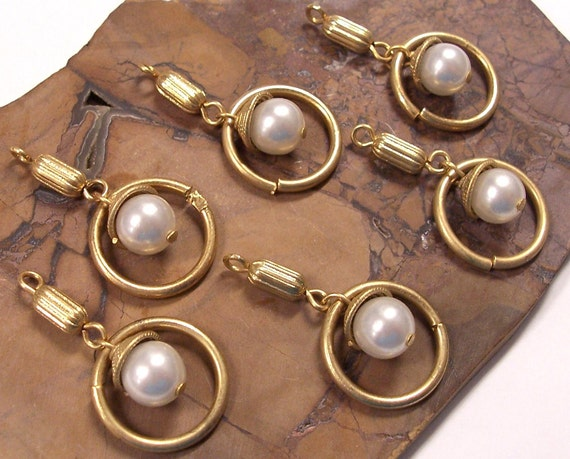 Reserved for Cynthia VINTAGE Pearl Findings Gold Hoops and Beads PEARL Earrings Japan Six (6) Dramatic Jewelry Destash (J31)