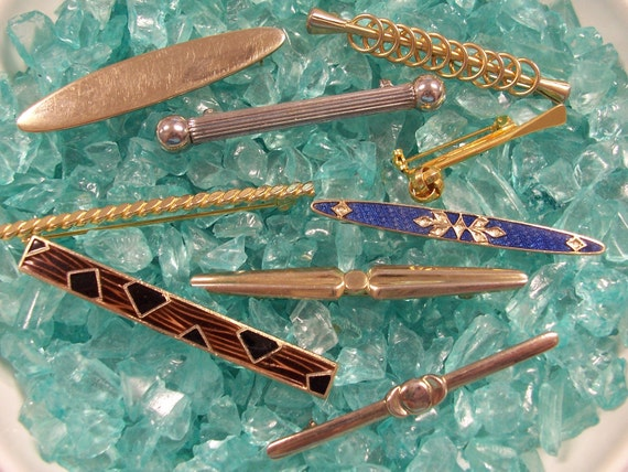 VINTAGE BAR Pins Brooches Nine (9) Gold Silver Enamel Modern Vintage Bar Pins Ready to Wear Vintage Jewelry Destash (J160)