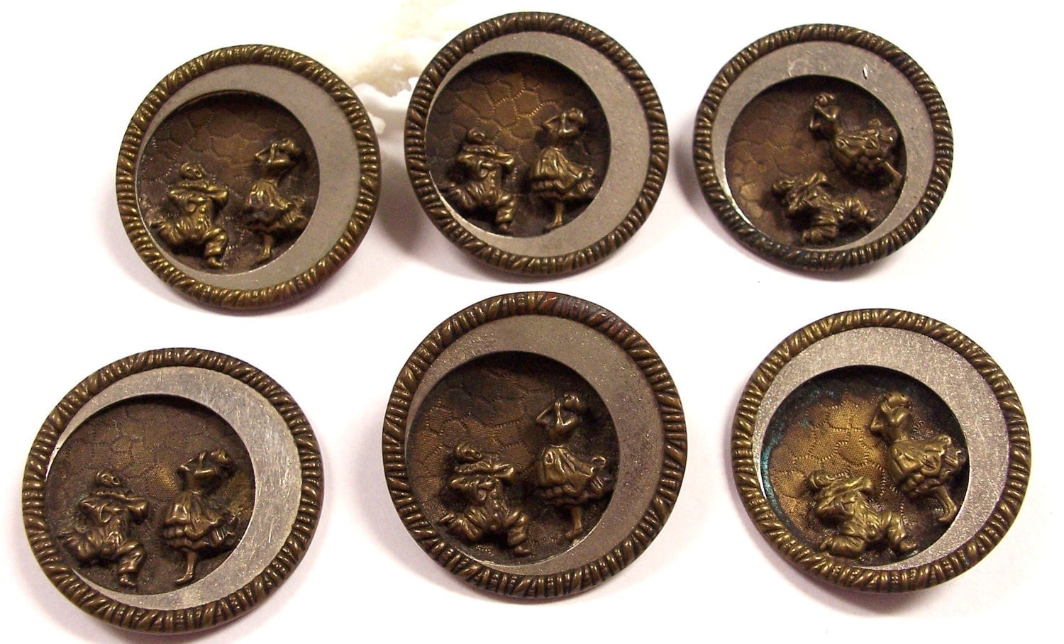 Vintage Antique Buttons Victorian Opera Pagliacci Metal