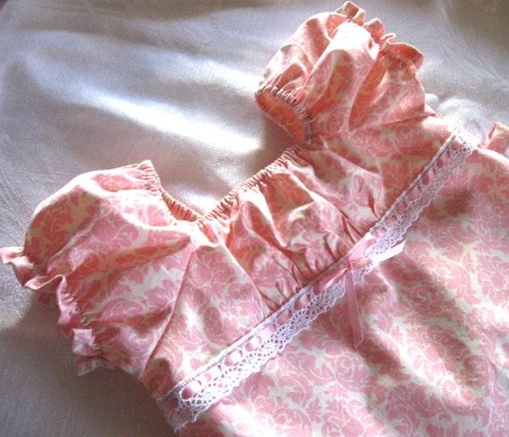 Girls Peasant Dress, Pink Damask, 12 months, 2t, 3t, 4t, Easter dress, girls easter dress, girls dress