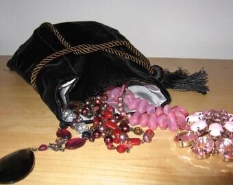 Black Velvet Jewelry Pouch
