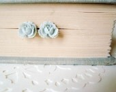 blossom. rose post earrings in antique blue.