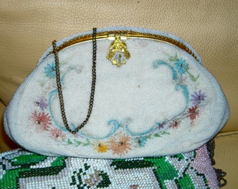 1930s French Hand Beaded and Embroidered Evening Purse