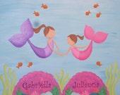 Mermaid Sisters- Original Painting 16x24 for Susan