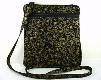 Cross Body Purse Hip Bag Handbag Sling Purse Cross Body Bag made with Glittery Black and Gold Floral Fabric