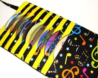 DVD Case CD Cases Video Game Disc Holder Blu Ray Storage made with Colorful Music Fabric - Hold's 15 Disc's