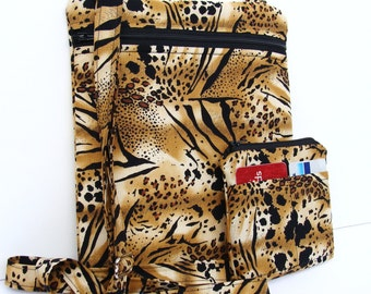 Hipbag Purse Long Strap Cross Body Hip Side Handbag and Coin Purse - Leopard Print Fabric - Adjustable Strap