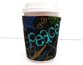 Coffee Cozy Coffee Sleeve made with Peace Fabric - Reuseable