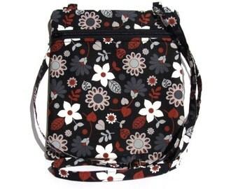 Hip Bag Purse Cross Body Handbag Sling with Adjustable Strap - Beautiful Floral Design Fabric