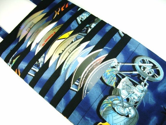 Disc Case DVD CD Video Game Disc Holder - Motorcycles and Flames Fabric