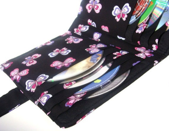 Cd Dvd Video Game Disc Case Book - Disc Storage - CD DVD Holder - Colorful Butterfly Fabric