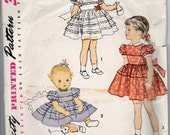 50s Simplicity 3758 Breast 20 Size 1 Year Girls Toddler's Dress Horizontal Tucks Puffed Sleeves Full Gathered Skirt Ties Bow Formal