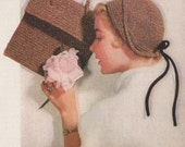 Early 50s Hat and Purse Crochet Pattern Cloche with Tied Bow in Back PDF File