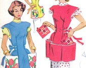 50s McCall's 1713 Apron Bust 36 38 Size 18 20 Cobbler Style Tie Bow Pockets Easy Rockabilly Separates Large