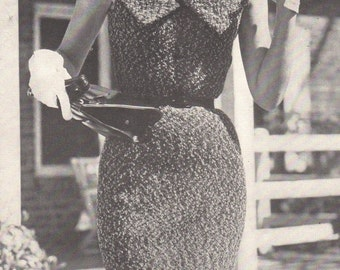 Mid 50s Knitting Pattern Curve Hugging Collared Sheath Dress Tweed Yarn PDF File Vintage Sizes 12 - 16