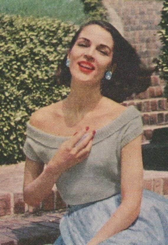 Mid 50s Knitting Pattern Off The Shoulder Evening Blouse PDF File Sizes 12 - 20