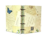 Handmade Journal with Vintage Inspired Papers Postcards and Butterfly