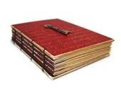 Beautiful Red Journal with Vintage Skeleton Key