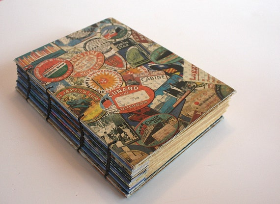 Coptic Bound Journal WIth Vintage Inspired Papers