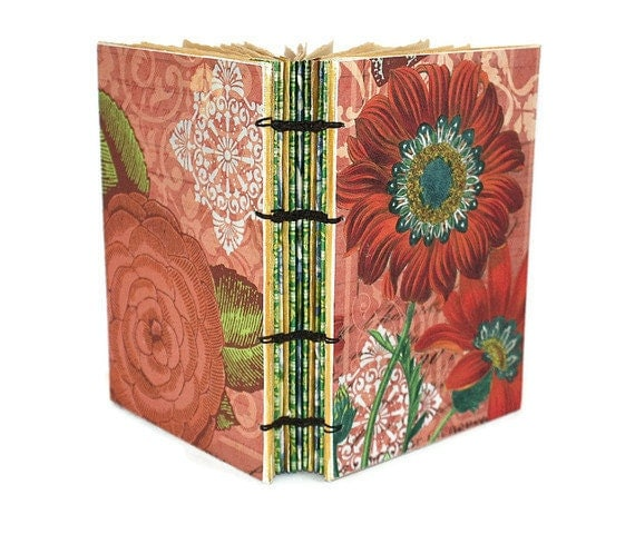 Orange Gerber Daisy and Floral Handmade Journal