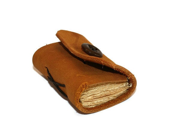 Rustic Tan Matchbook Size Leather Journal