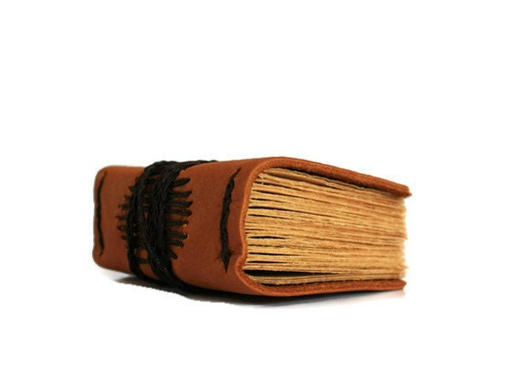 Small Rustic Brown Hand Bound Leather Journal