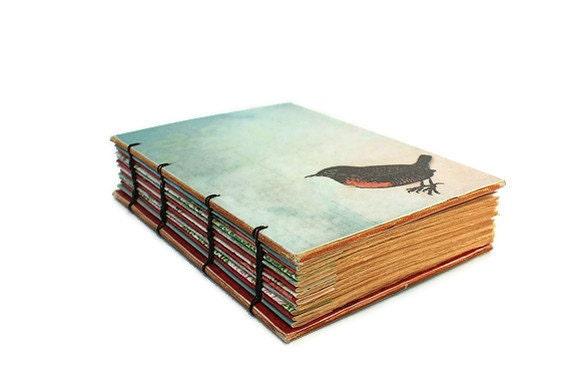 Pale Blue Bird Book Handmade Journal