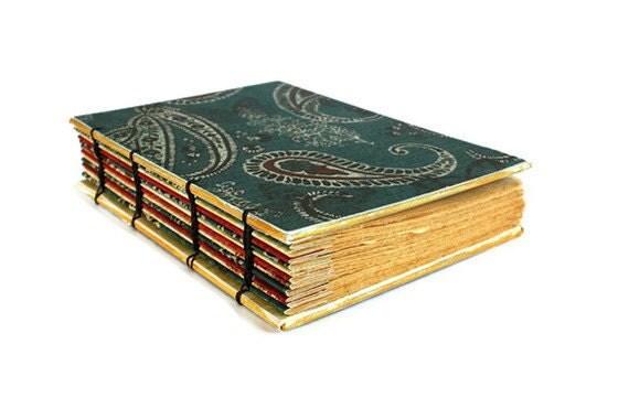 Rustic Blue Paisley Handmade Coptic Journal