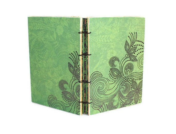 Thin Wedding Guest Book Green and Purple Journal with Foiled Papers